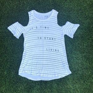 Kohls APT 9 Shirt Sz Small White Black Stripes